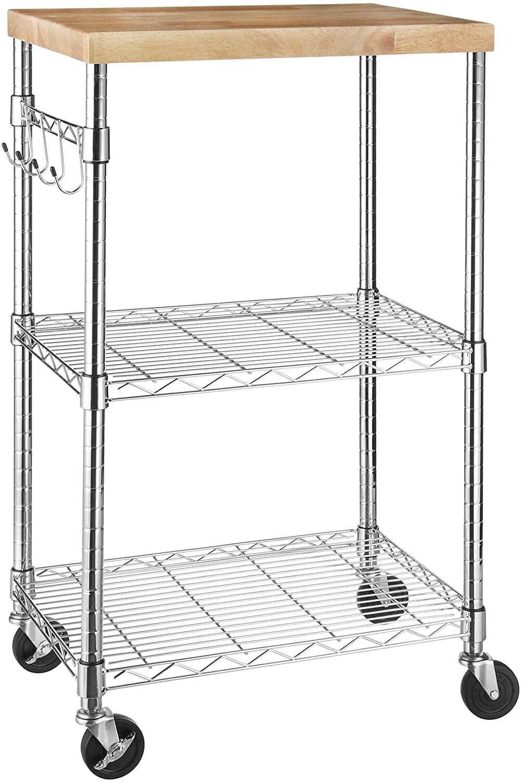 AmazonBasics Kitchen Rolling Microwave Cart on Wheels,