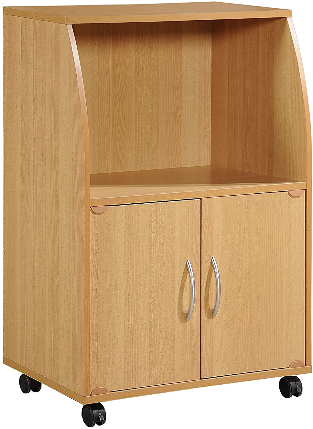 Hodedah Mini Microwave Cart with Two Doors and Shelf for Storage