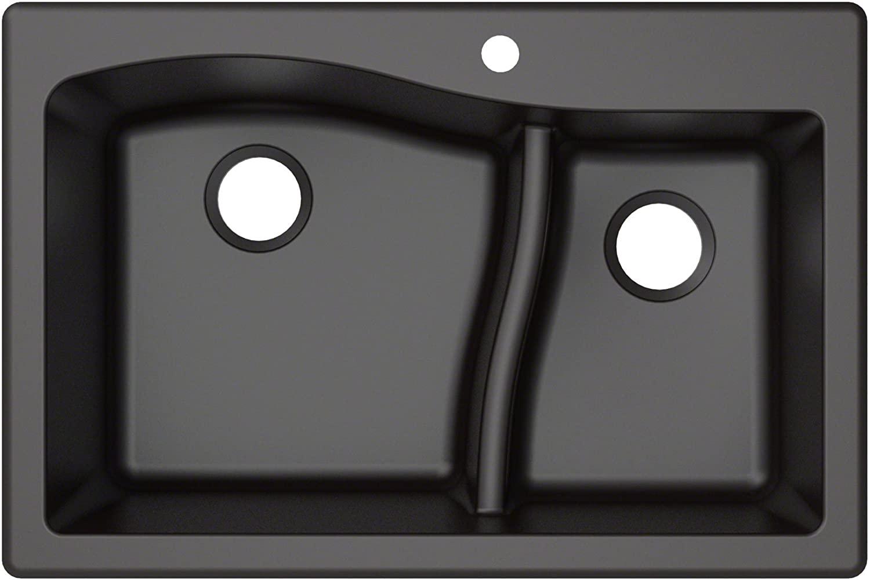Kraus Quarza Kitchen Sink | 33-Inch 60/40 Bowls | Black Granite